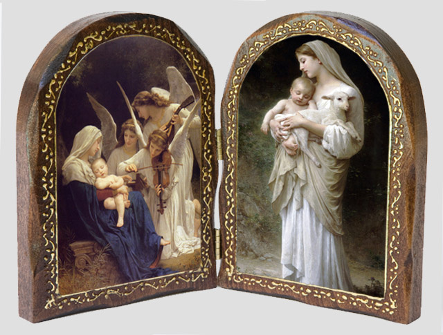 Song of the Angels and L'Innocence - Catholic Wood Diptych