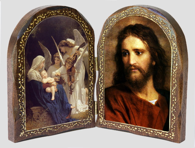 Catholic Artwork - Song of the Angels/ Christ at 33 Wood Diptych