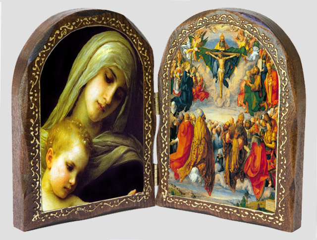 Blessed Virgin Mary and baby Jesus / The Holy Trinity Wood Dipty