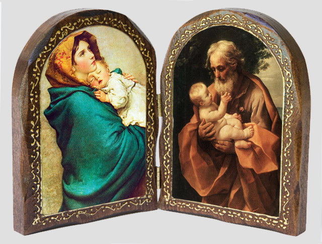 Catholic Wood Diptych of the Madonna of the Streets and St. Jose