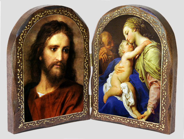Jesus at 33/ The Sacred Family Wood Diptych