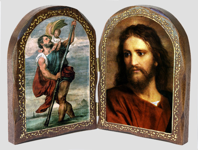 Catholic Artwork St. Christopher and Jesus Christ at 33 Wood Dip