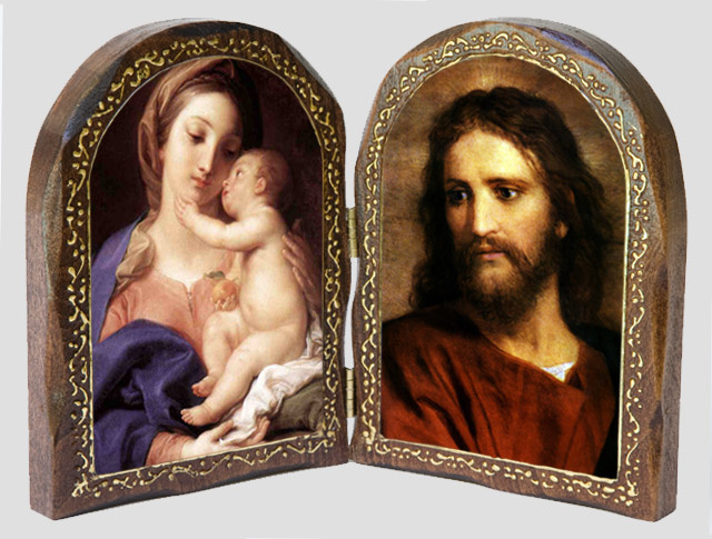 Catholic Artwork -Madonna and Child/ Christ at 33 Wood Diptych