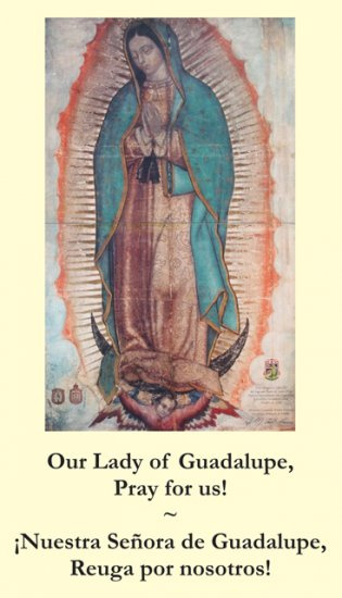 Our Lady of Guadalupe Bilingual Memorare Holy Card